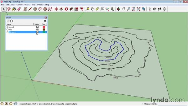 Creating terrains with contours: SketchUp Pro: Tools and Techniques