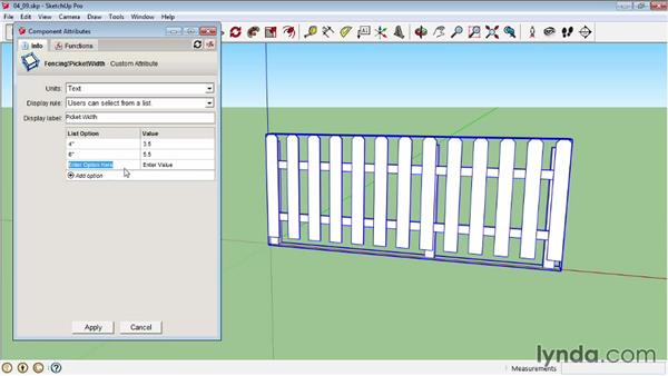 Creating a dynamic picket fence: Customizing attributes: SketchUp Pro: Tools and Techniques