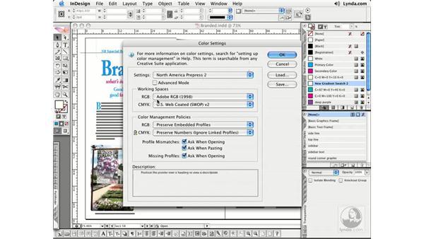 Using Color Settings: InDesign CS2 Essential Training