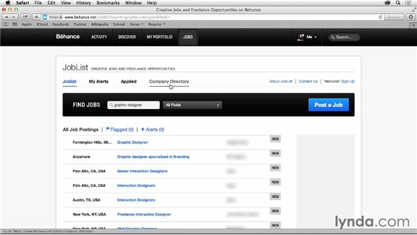 Browsing the job board: Up and Running with Behance