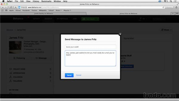 Messaging other creatives: Up and Running with Behance