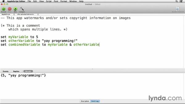 Using comments, variables, text, and numbers: Up and Running with AppleScript