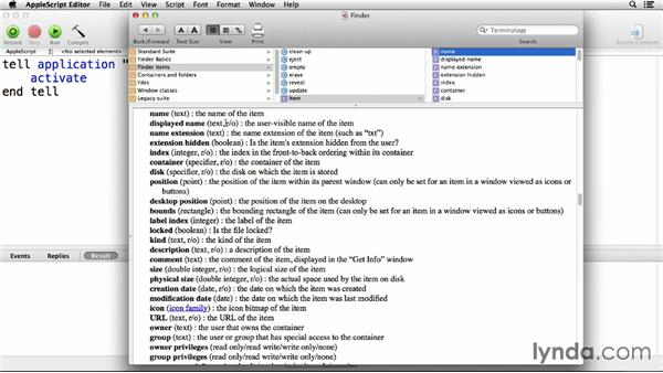 Introducing the dictionaries: Up and Running with AppleScript