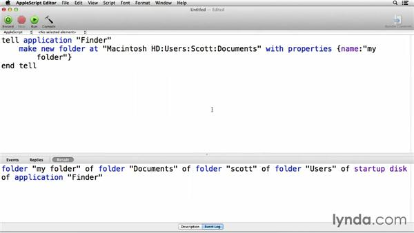 Working with files and folders: Up and Running with AppleScript