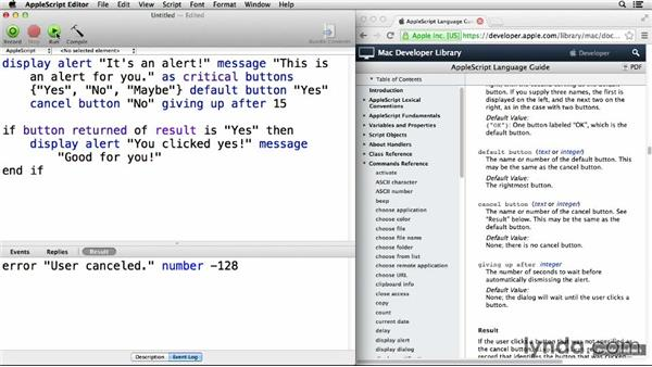 Interacting with the user via alerts, dialogs, and notifications: Up and Running with AppleScript