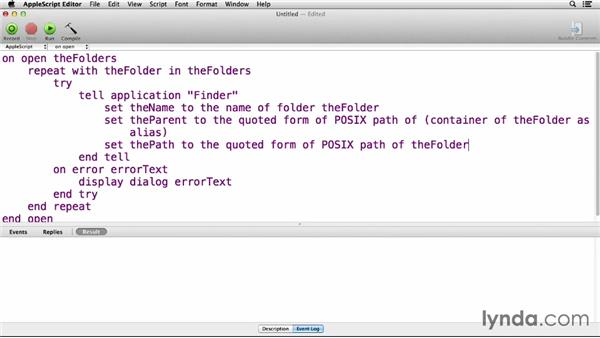 Working with the command line in AppleScript: Up and Running with AppleScript