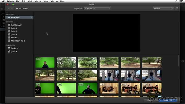 Importing from a memory-based camera: iMovie 10.0.2 Essential Training