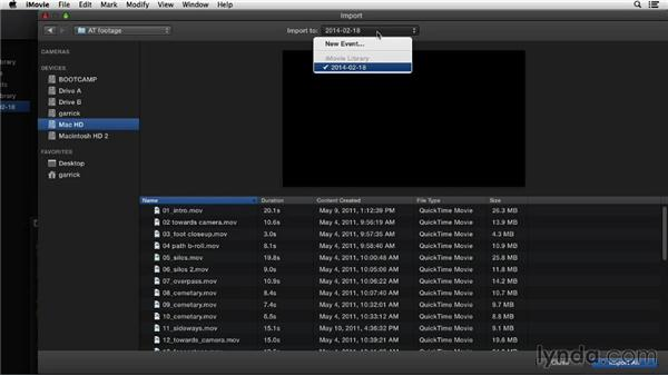 Importing video files: iMovie 10.0.2 Essential Training