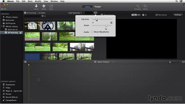 Browsing events in the iMovie Library: iMovie 10.0.2 Essential Training