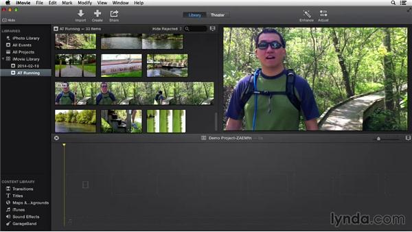 Selecting and adding clips to a project: iMovie 10.0.2 Essential Training