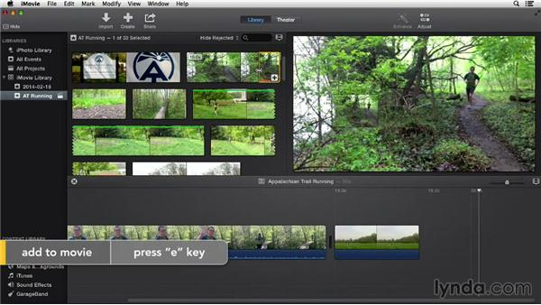 Adding clips to the project: iMovie 10.0.2 Essential Training