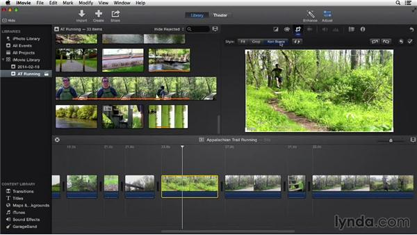 Creating and adjusting still clips: iMovie 10.0.2 Essential Training