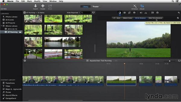 Adjusting color: iMovie 10.0.2 Essential Training