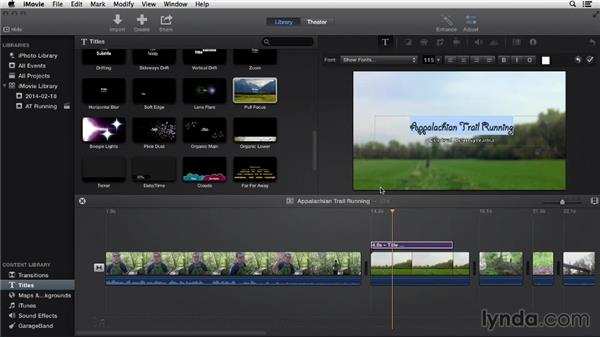 Adding titles: iMovie 10.0.2 Essential Training