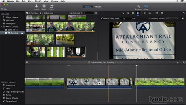 Stabilizing video: iMovie 10.0.2 Essential Training