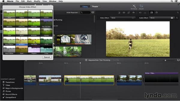 Applying video effects: iMovie 10.0.2 Essential Training