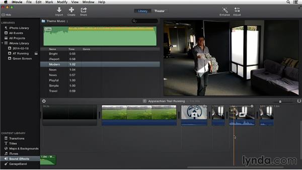 Adding background music: iMovie 10.0.2 Essential Training
