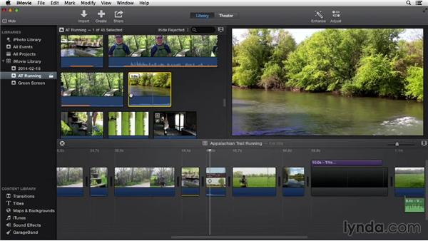 Extracting audio from clips: iMovie 10.0.2 Essential Training