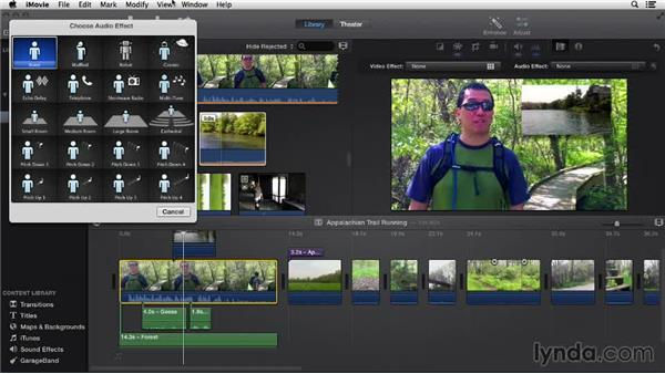 Applying audio effects: iMovie 10.0.2 Essential Training