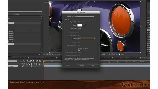 Using 3D lights in After Effects: Premiere Pro and After Effects: Enhancing Production Value
