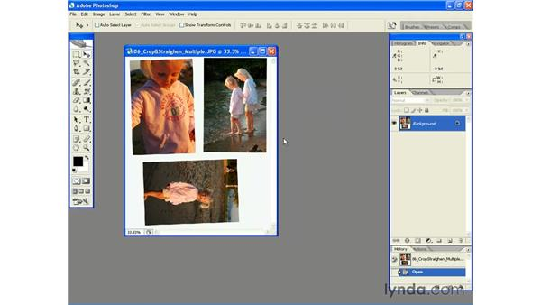 Cropping and Straightening Photos Automatically: Photoshop CS2 Essential Training
