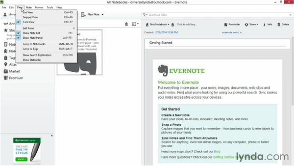 Touring the Evernote interface: Up and Running with Evernote for Windows (2014)