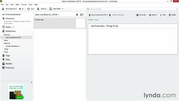 Creating a text note: Up and Running with Evernote for Windows