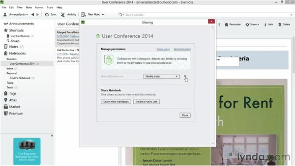Sharing notebooks via the Evernote website: Up and Running with Evernote for Windows (2014)