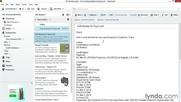 Setting reminders: Up and Running with Evernote for Windows