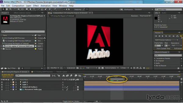 Setting the preview area: After Effects Guru: Faster Previews and Rendering