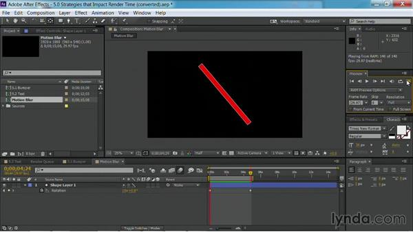Adjusting motion blur: After Effects Guru: Faster Previews and Rendering