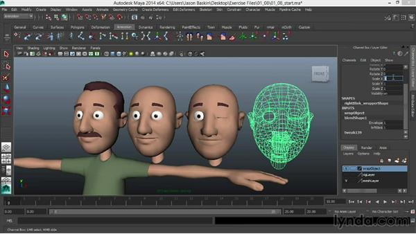 Mirroring asymmetrical shapes across the midline with wrap deformers: Facial Rigging in Maya