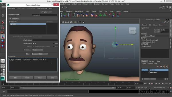 Connecting eye rotation to the graphical user interface (GUI): Facial Rigging in Maya