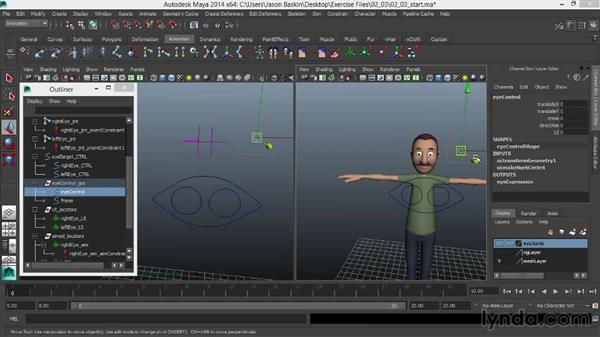 Blending between a GUI- and target-based eye setup: Facial Rigging in Maya