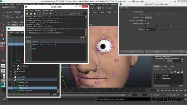 Adding final constraints to keep the entire rig intact: Facial Rigging in Maya