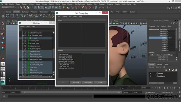 Finessing joint placement and rotation using driven keys: Facial Rigging in Maya
