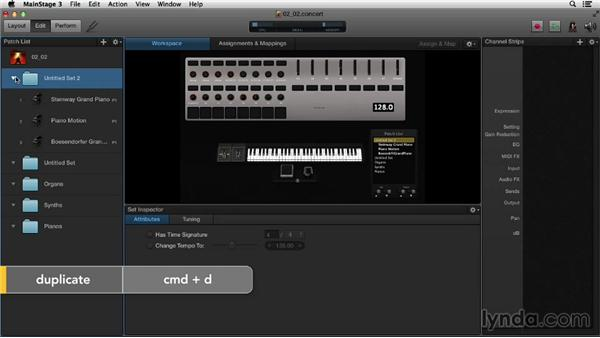 Creating concerts, sets, and concert- or set-level channel strips: Up and Running with MainStage 3