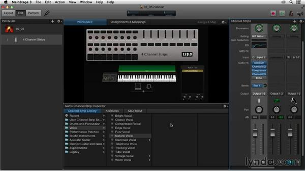 Exploring the Library and Settings tabs in the Channel Strip Inspector: Up and Running with MainStage 3