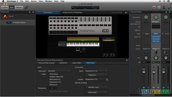 Sculpting MIDI input and output messages in the Channel Strip Inspector: Up and Running with MainStage 3