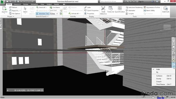 Using the Gravity tool: Navisworks Essential Training