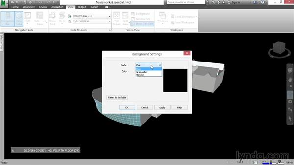 Changing the background: Navisworks Essential Training