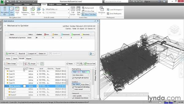 Grouping and assigning clashes: Navisworks Essential Training
