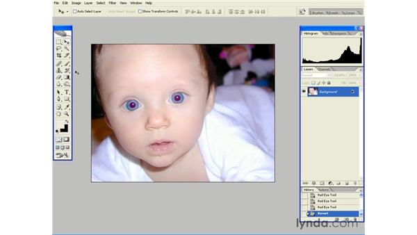 One-Click Red Eye Fix: Photoshop CS2 Essential Training