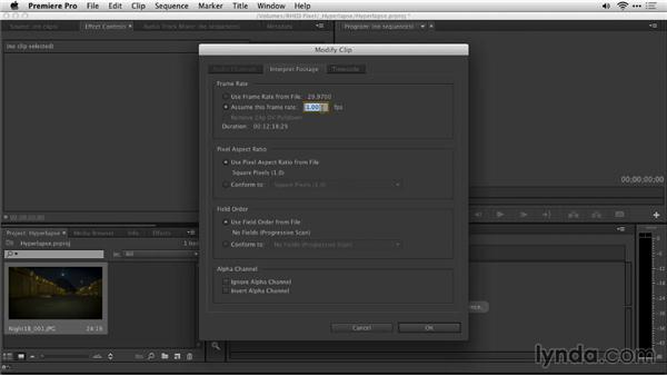 Assembling the shot with Premiere Pro: Shooting a Hyperlapse Time-Lapse Video