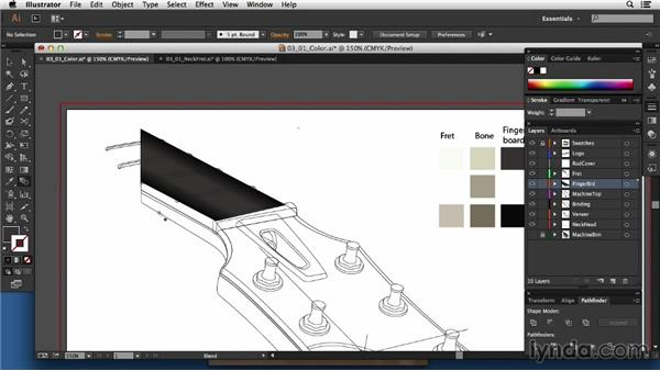 Adding blends and color to the neck and fingerboard: Technical Illustration: Creating a Cutaway