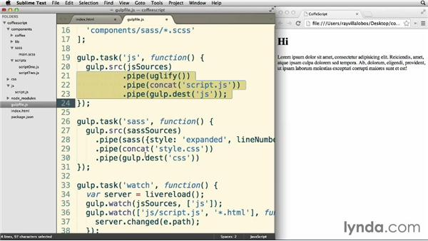 Processing Sass files: Up and Running with CoffeeScript