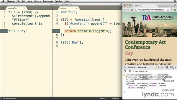 """Using aliases for """"this"""" and other tidbits: Up and Running with CoffeeScript"""