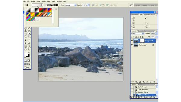 Adding a Gradient to a Layer Mask to Isolate Corrections: Photoshop CS2 Essential Training