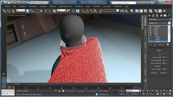 Cloth modifier sub-object modes: Seams: Cloth Simulation in 3ds Max