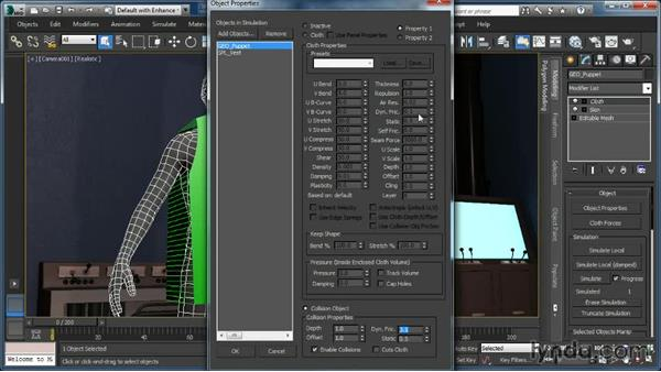 Setting up collision object properties: Cloth Simulation in 3ds Max